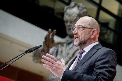 Foto: Martin Schulz spricht im Willy-Brandt-Haus