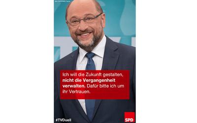 """Foto: Martin Schulz und Zitat """"Europa nach vorne bringen"""""""