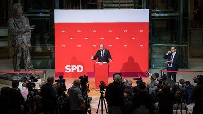 Foto: Martin Schulz spricht im Willy-Brandt-Haus zu Journalisten