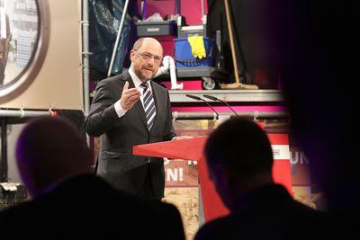 Foto: Martin Schulz redet bei der SPD-Arbeitnehmerkonferenz 2017 in Bielefeld