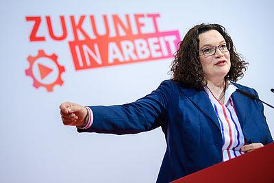 Foto: Pressekonferenz mit Andrea Nahles
