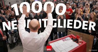 Foto mit Martin Schulz zu 10.000 Neumitglieder
