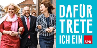 """Foto: Manuela Schwesig, Martin Schulz und Katarina Barley - daneben der Schriftzug """"Dafür trete ich ein"""""""