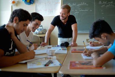 Foto: Deutschunterricht in einer Willkommensklasse in Berlin