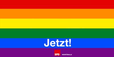 Grafik: Regenbogenflagge mit Schriftzug: Ehe für alle - Jetzt!