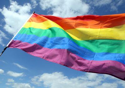 Foto: Eine Regenbogenfahne weht in der Luft
