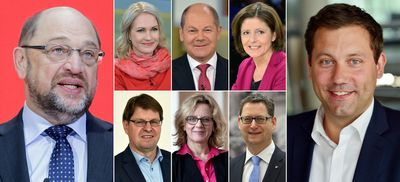Kombo zeigt Martin Schulz ( l), Manuela Schwesig (obere Reihe l-r), Olaf Scholz, Malu Dreyer, Ralf Stegner ( untere Reihe l-r), Natascha Kohnen, Thorsten Schäfer-Gümbel und Lars Klingbeil