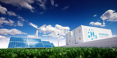 Symbolfoto: Wasserstoffspeicherung mit erneuerbaren Energiequellen - Fotovoltaik- und Windkraftwerk in frischer Natur. (3D-Darstellung)