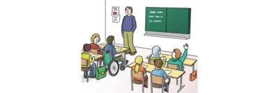 Bild zeigt junge Menschen in einer Schule