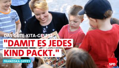 """Foto: Franziska Giffey besucht die Sprach-Kita """"Abenteuerland"""" in Marzahn."""