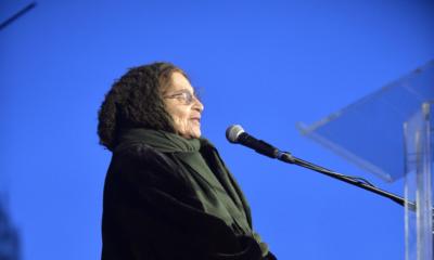 Ágnes Heller hält eine Rede. (Foto: dpa)