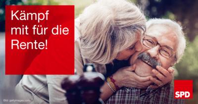 """Symbolfoto mit glücklichem Rentnerpaar und einer Textkachel mit Forderung """"Kämpf mit für die Rente!"""""""
