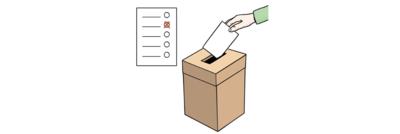 Bild von einem Stimmzettel in einem Wahl-Lokal