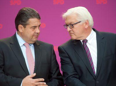 Sigmar Gabriel und Frank-Walter Steinmeier bei einer Pressekonferenz der SPD in Berlin (Archivbild von 2012). (Foto:dpa).