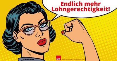"""Grafik: Kämpferische Frau mit Sprechblase """"Endlich mehr Lohngerechtgkeit!"""""""
