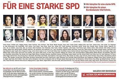 Zeitungsanzeige: Für eine starke SPD