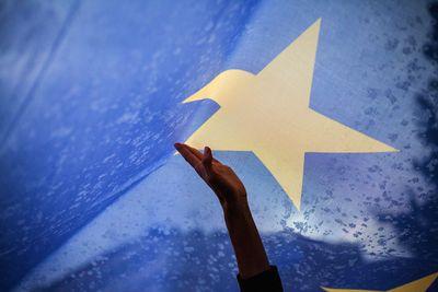 Foto: Eine Hand berührt eine überdimensionale Europaflagge