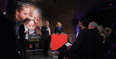 Foto: SPD Townhall-Meeting mit Sigmar Gabriel und Katrin Budde in der Festung Mark in Magdeburg (Sachsen-Anhalt)