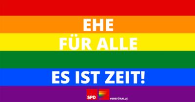 Grafik: Regenbogenflagge mit Schriftzug: Ehe für alle. Es ist Zeit!
