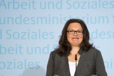 Arbeitsministerin Andrea Nahles bei einer Pressekonferenz in Berlin. (Foto: dpa)