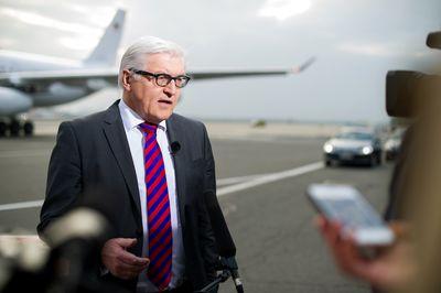 Frank-Walter Steinmeier spricht an einem Flughafen mit Pressevertretern. (Foto: dpa)
