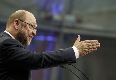 Foto: Martin Schulz hält eine Rede