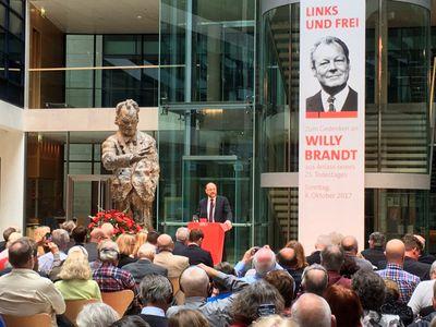 Martin Schulz bei der Gedenkfeier zum 25. Todestag von Willy Brandt im Willy-Brandt-Haus.